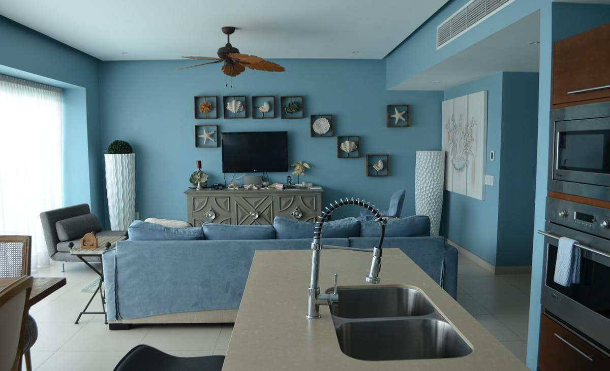 Living room and kitchen Icon Vallarta Beachfront Condo For Rent