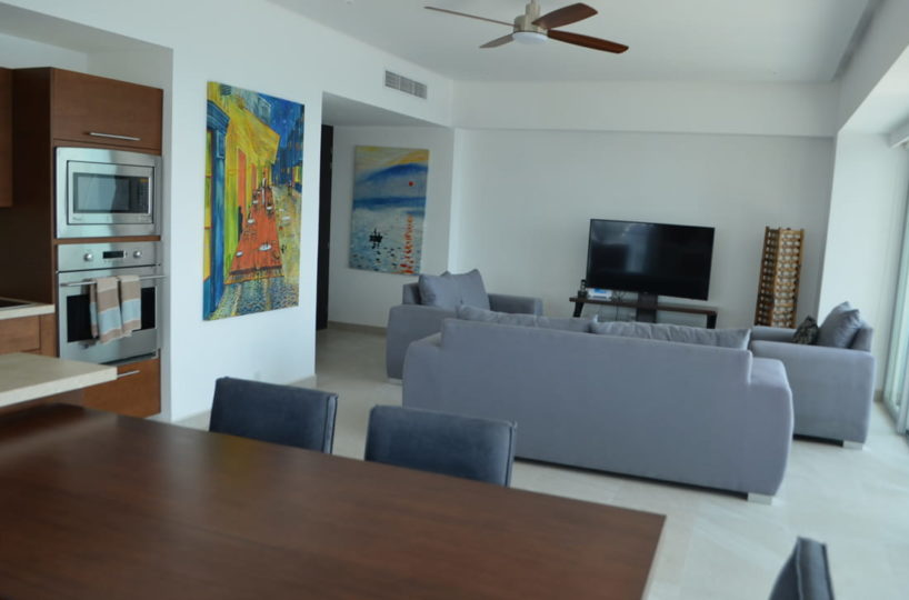 Kitchen and room Condo for rent Icon Vallarta