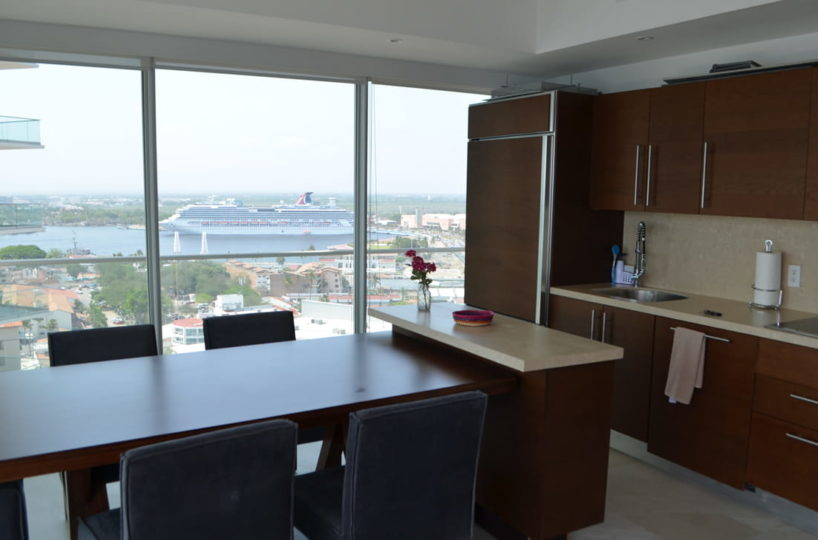 Kitchen with ocean view Condo for rent Icon Vallarta