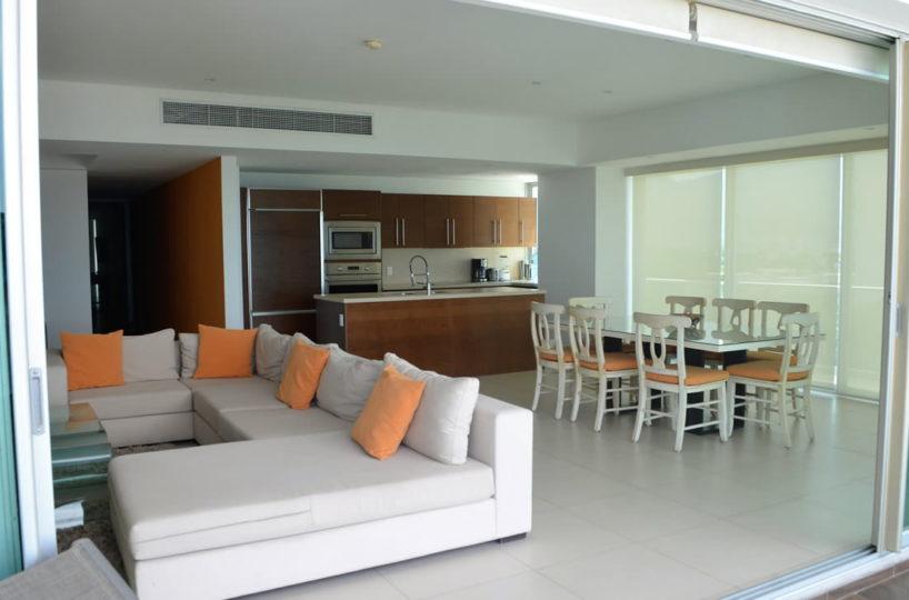 Living room and dining room Icon Vallarta Luxury Condo Rentals