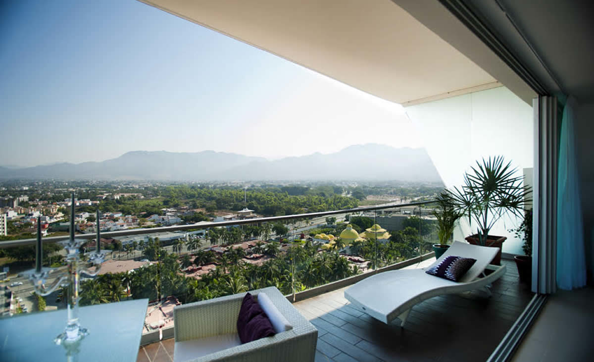View to the city balcony Condominium Icon for rent Puerto Vallarta Mexico