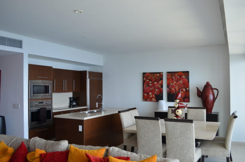 Kitchen and dining room Icon Vallarta Condo Rentals