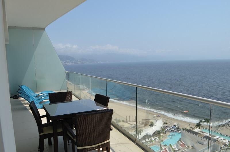 Deck Amazing beach front condo for rent icon vallarta view 1-1802